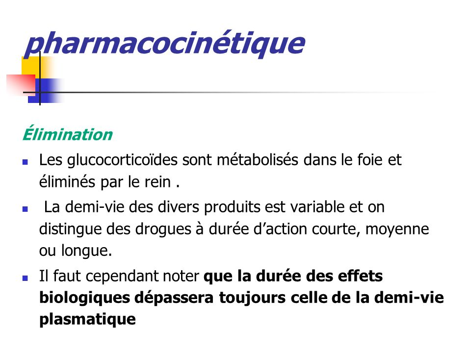 pharmacocinétique Élimination