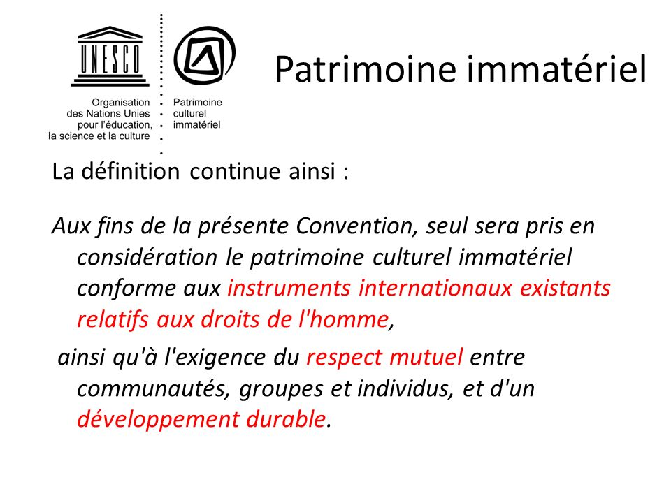 Section Du Patrimoine Culturel Immateriel Ppt Telecharger
