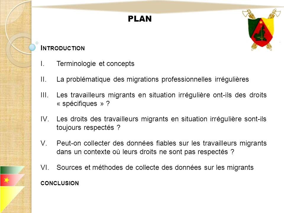 PLAN Introduction Terminologie et concepts