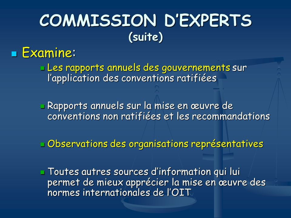 COMMISSION D'EXPERTS (suite)