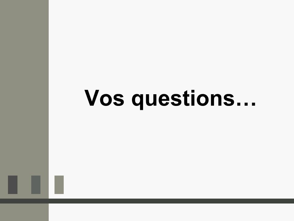Vos questions…