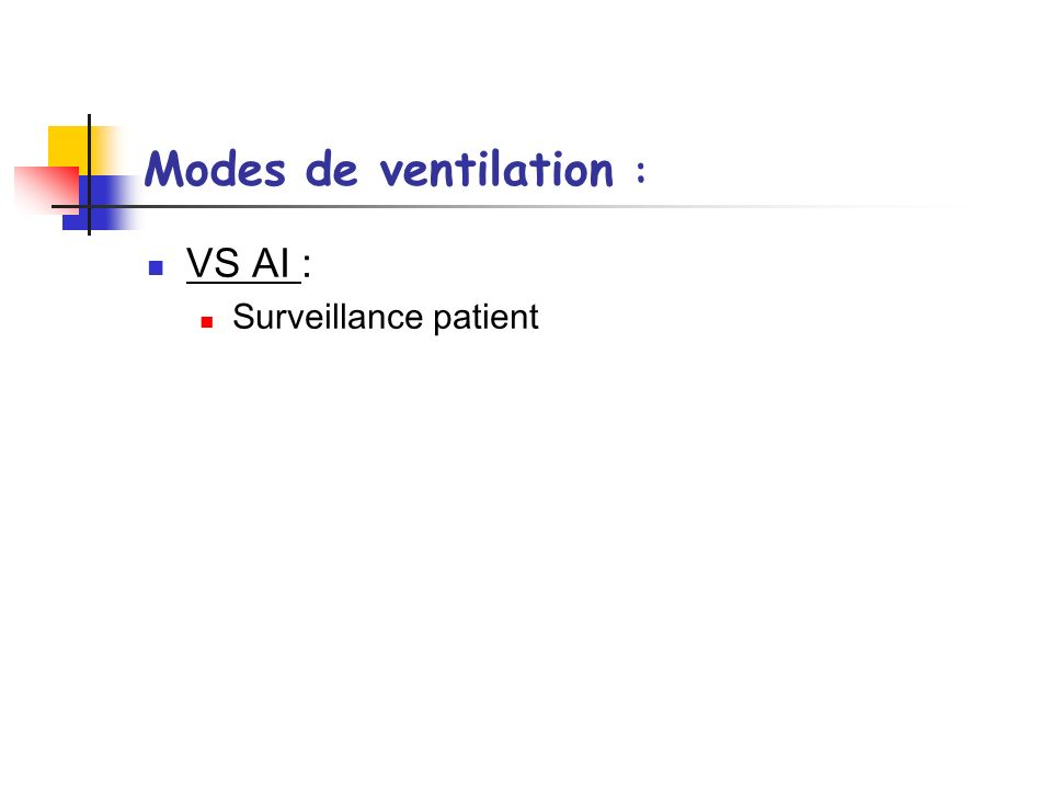 Modes de ventilation : VS AI : Surveillance patient