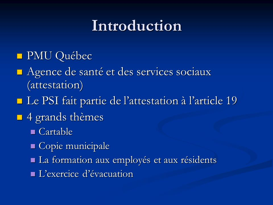 Introduction PMU Québec