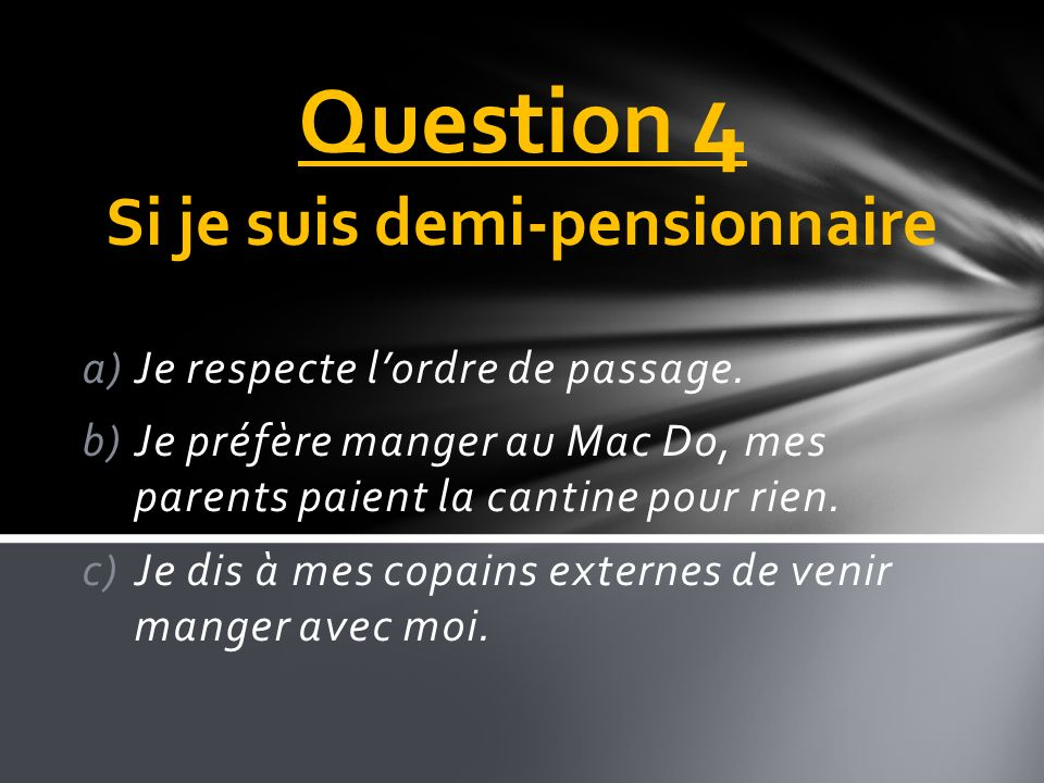 Question 4 Si je suis demi-pensionnaire