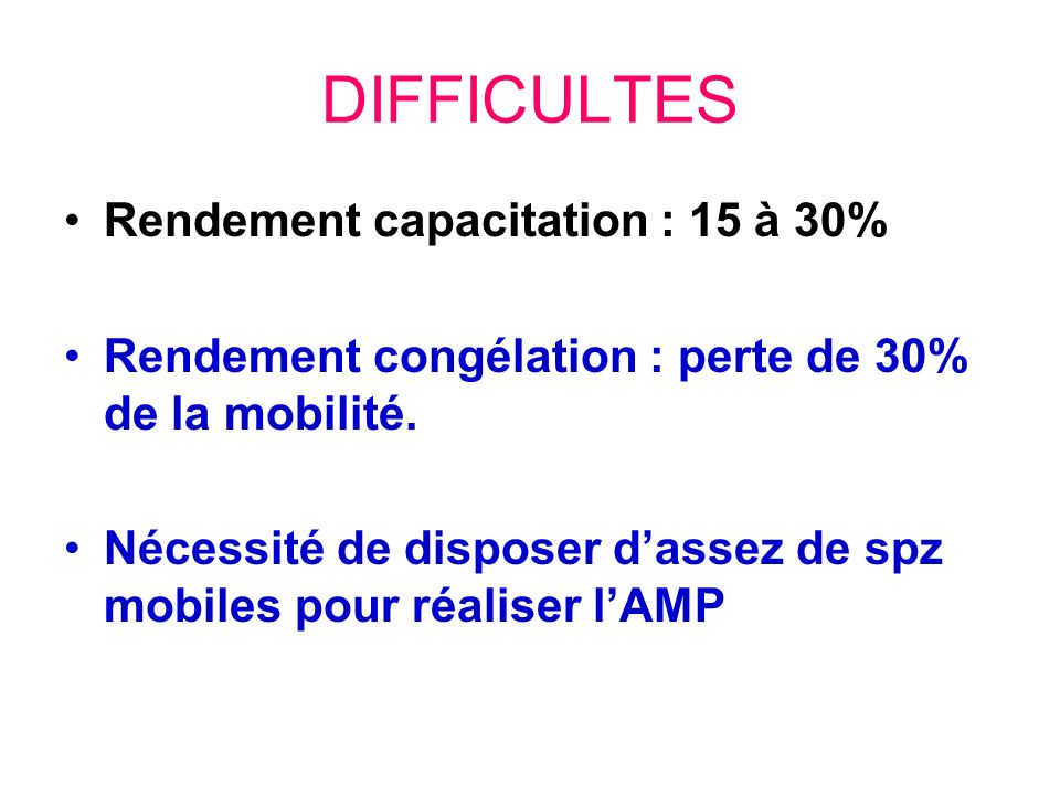 DIFFICULTES Rendement capacitation : 15 à 30%