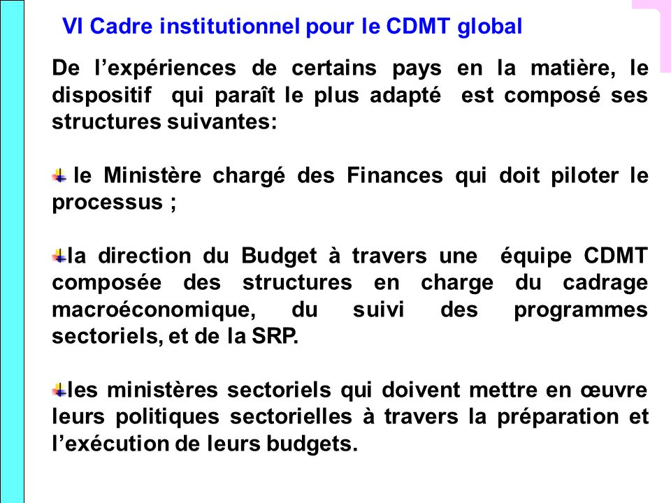 VI Cadre institutionnel pour le CDMT global