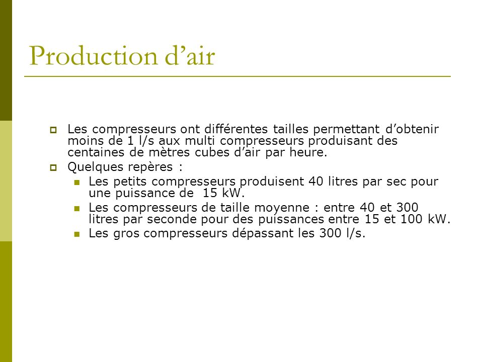 Production d'air