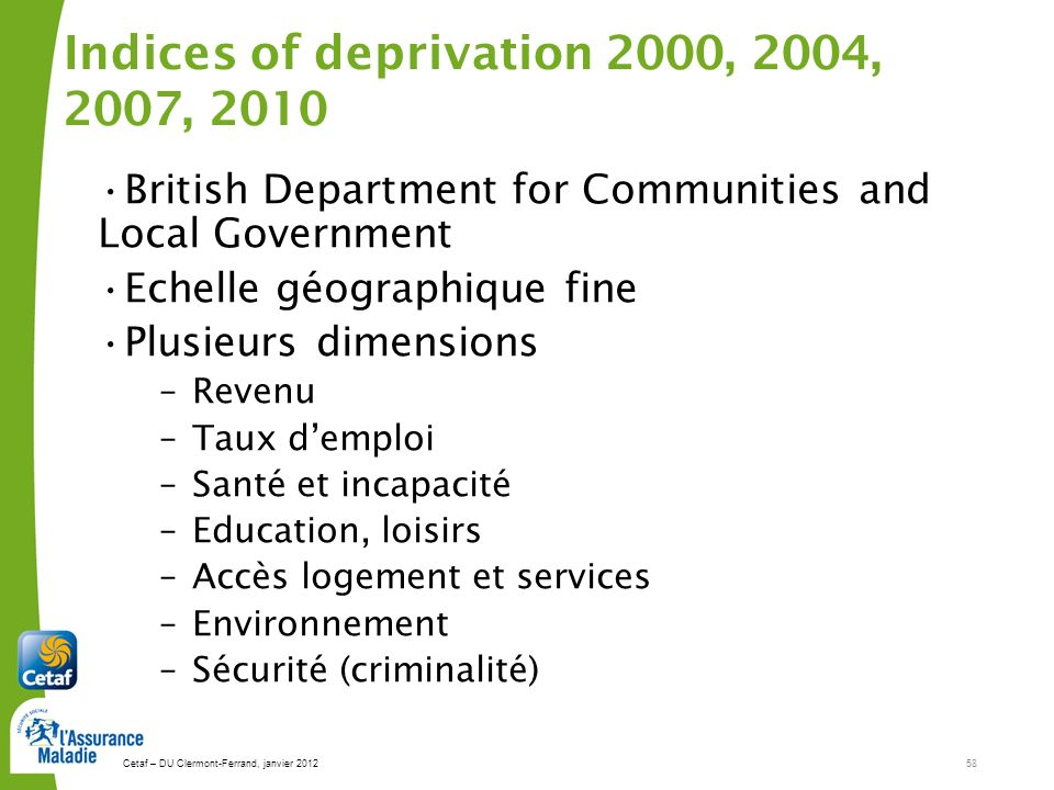 Indices of deprivation 2000, 2004, 2007, 2010