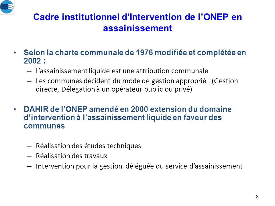Cadre institutionnel d'Intervention de l'ONEP en assainissement