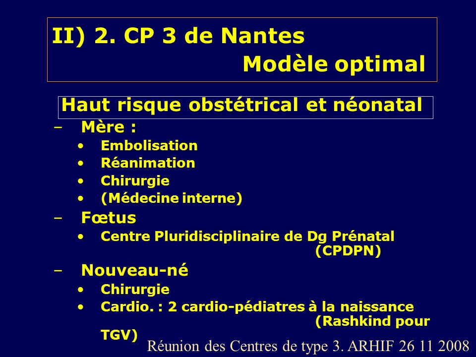II) 2. CP 3 de Nantes Modèle optimal