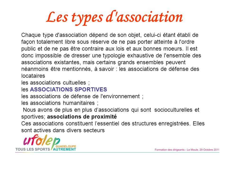 Les types d association