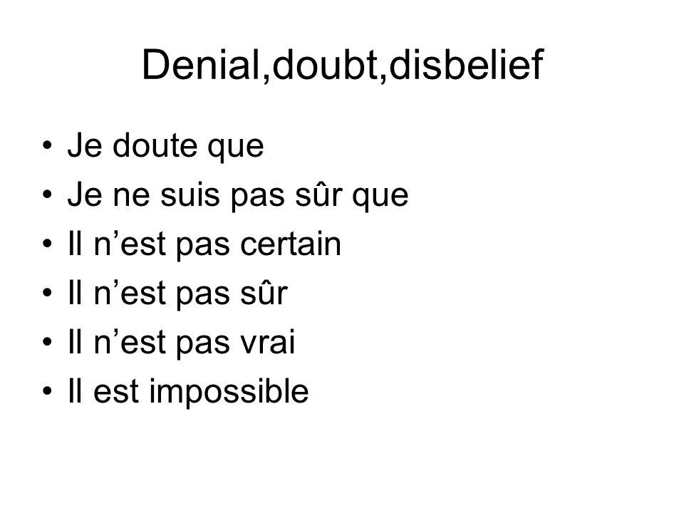 Denial,doubt,disbelief