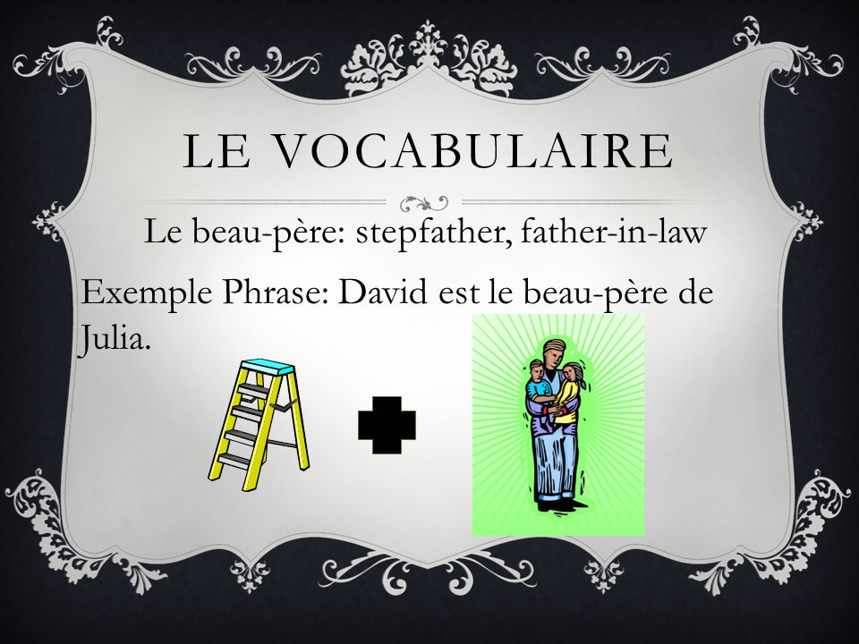Le vocabulaire Le beau-père: stepfather, father-in-law Exemple Phrase: David est le beau-père de Julia.