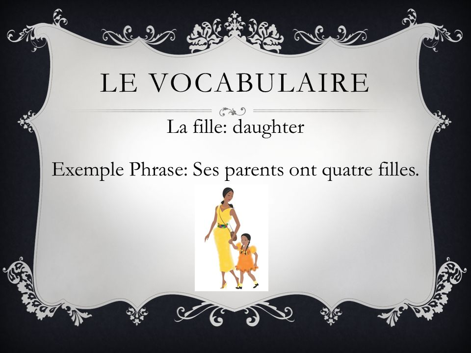 La fille: daughter Exemple Phrase: Ses parents ont quatre filles.