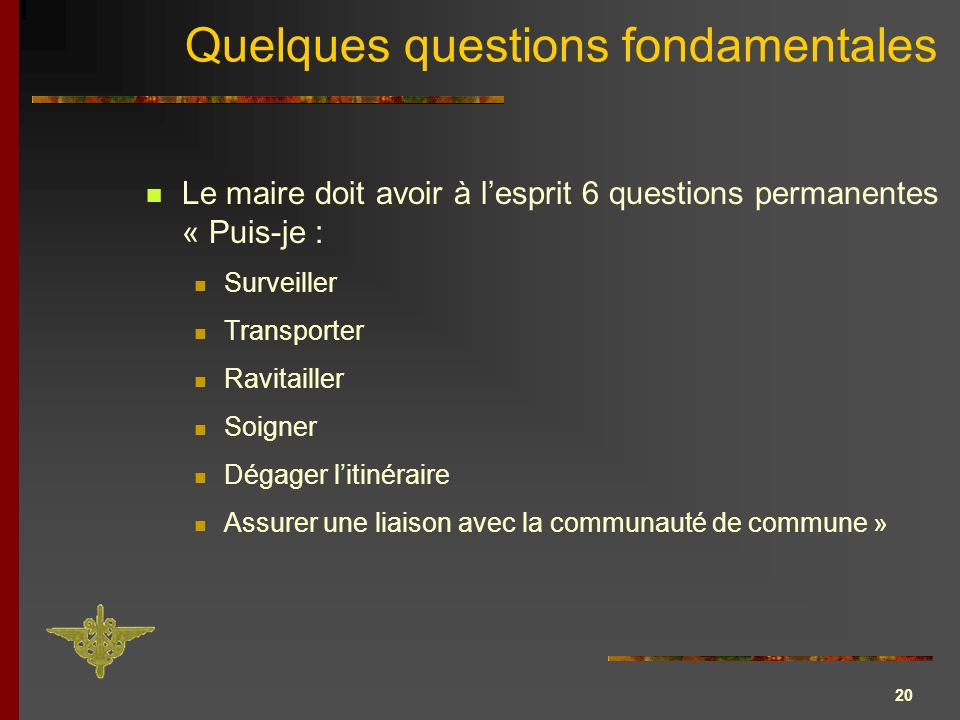 Quelques questions fondamentales
