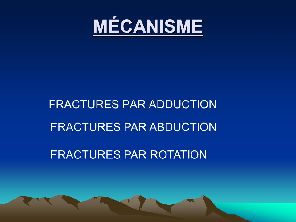 MÉCANISME FRACTURES PAR ADDUCTION FRACTURES PAR ABDUCTION