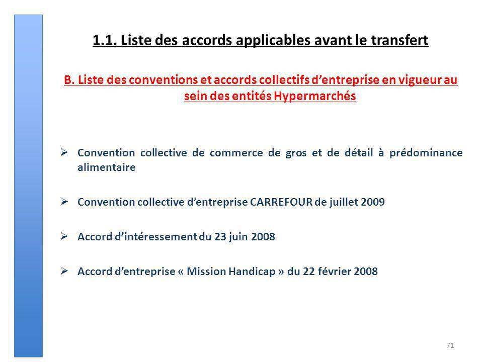 1.1. Liste des accords applicables avant le transfert