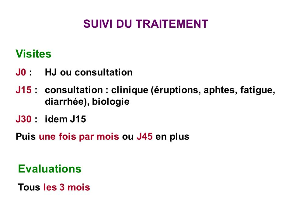 SUIVI DU TRAITEMENT Visites Evaluations J0 : HJ ou consultation
