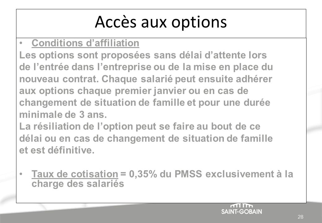 Accès aux options Conditions d'affiliation