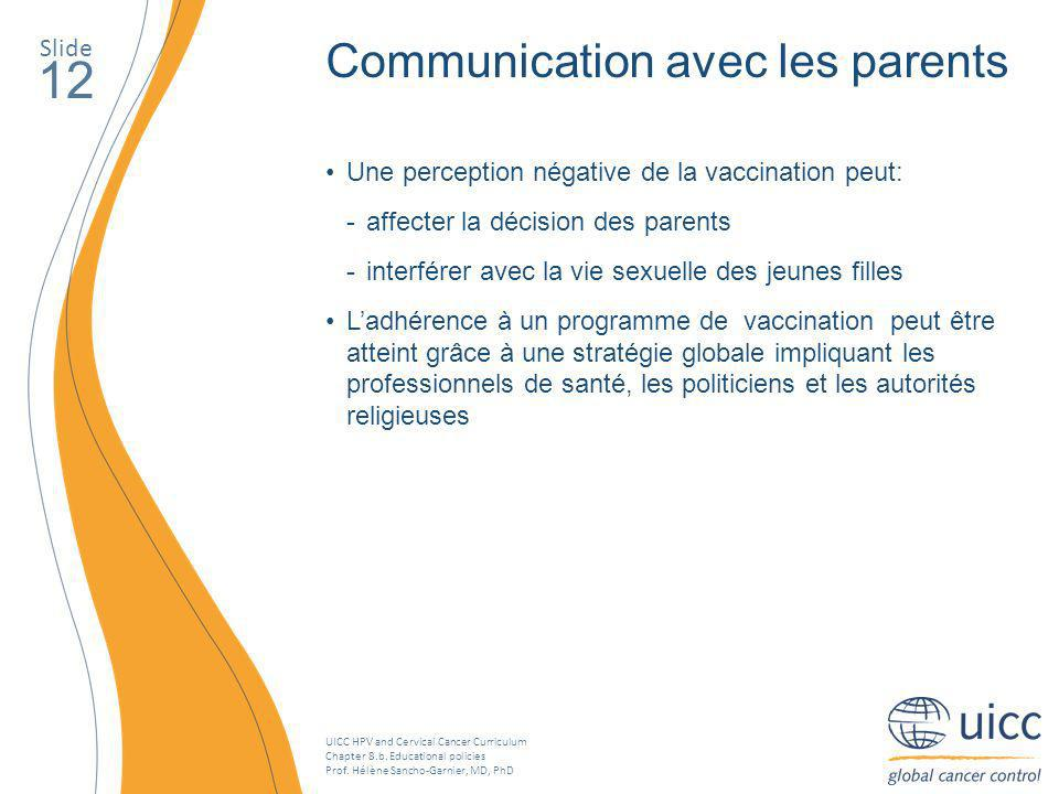 12 Communication avec les parents Slide