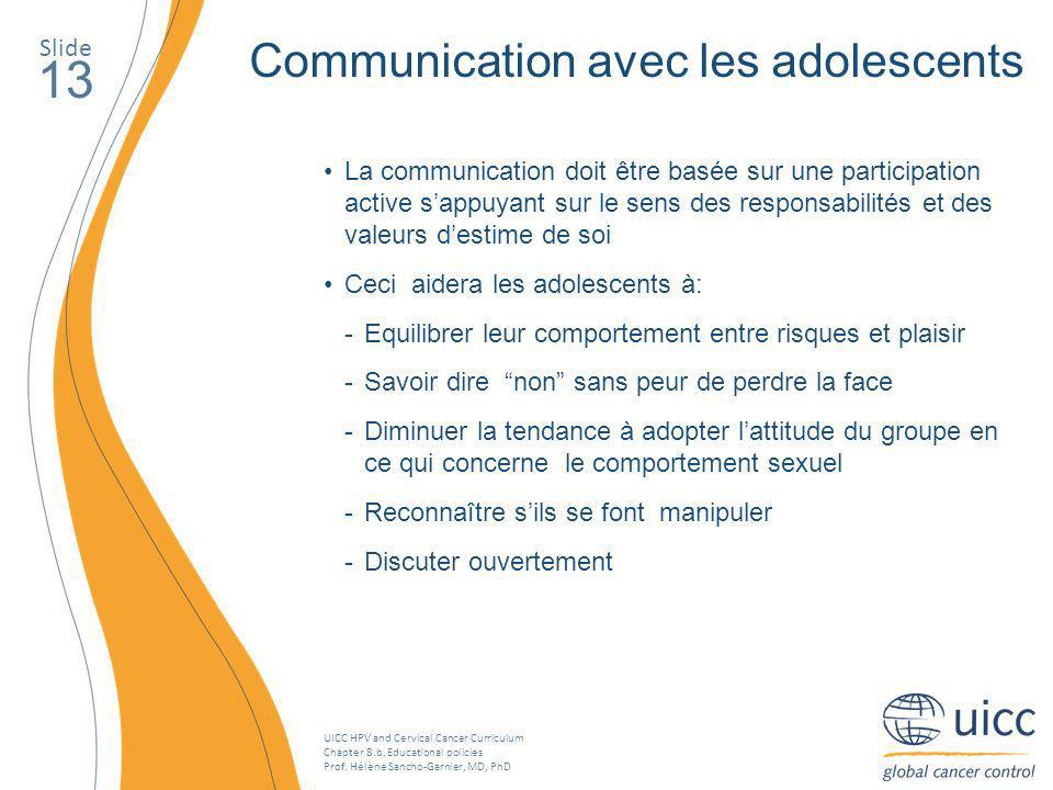13 Communication avec les adolescents Slide