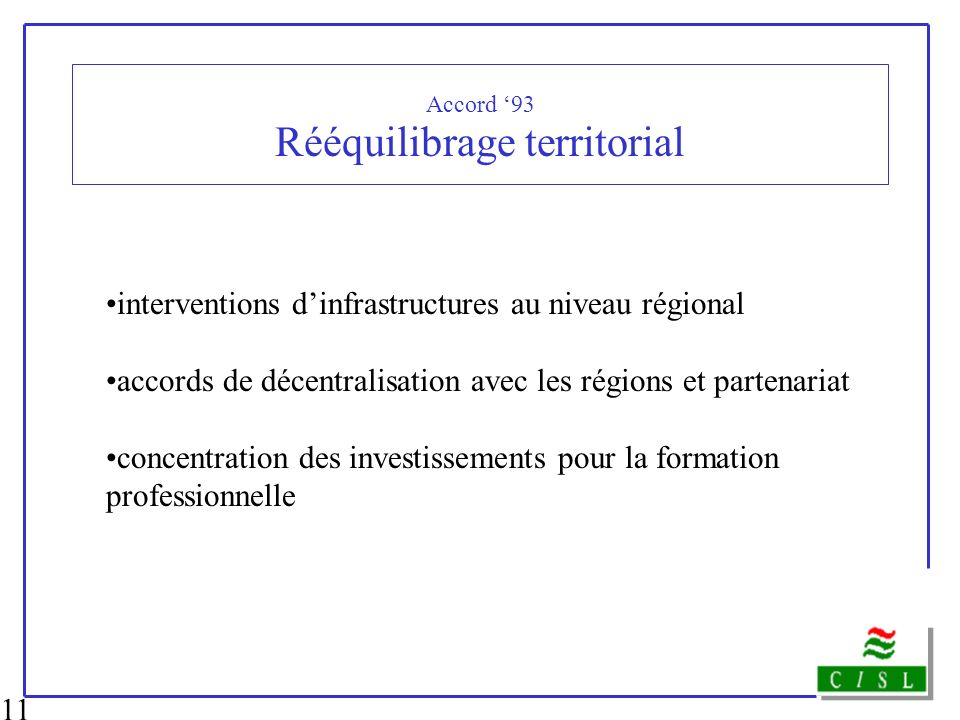 Accord '93 Rééquilibrage territorial