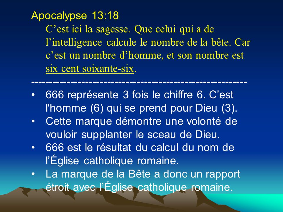 La marque de la Bête Apo. 13: ppt télécharger