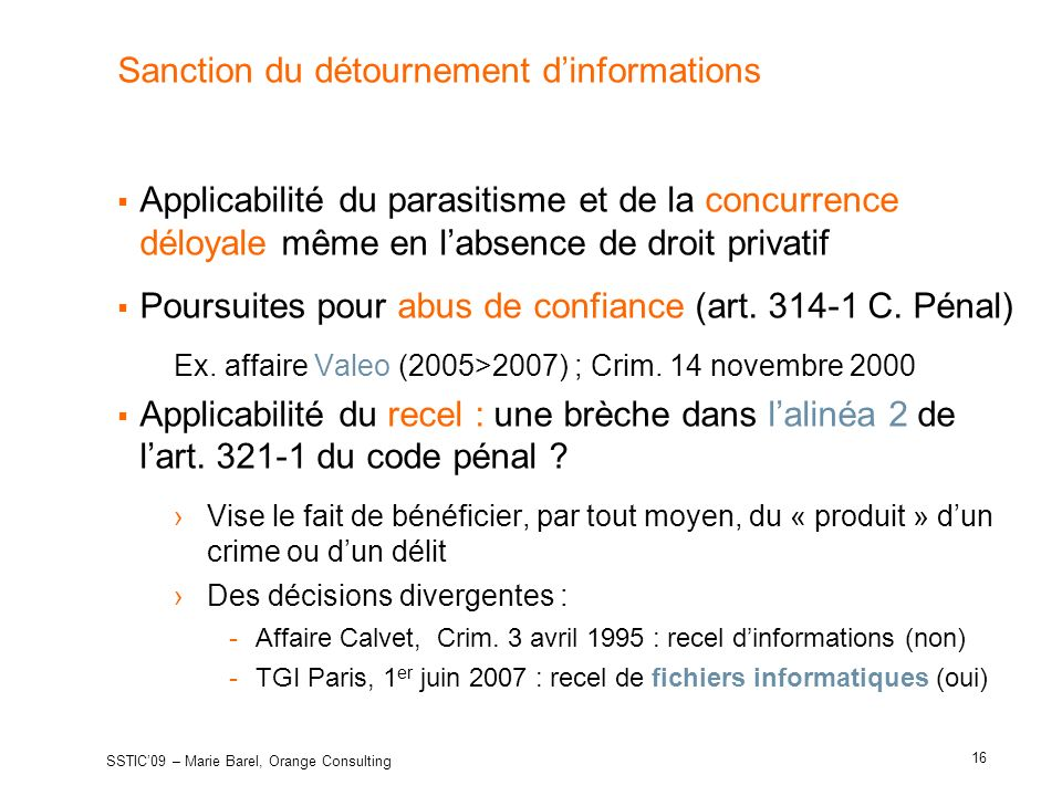 Sanction du détournement d'informations