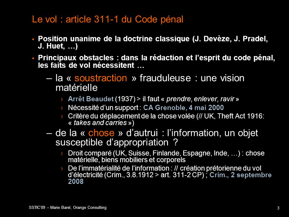 Le vol : article du Code pénal