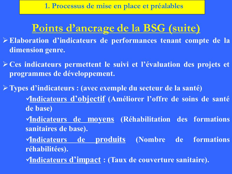 Points d'ancrage de la BSG (suite)