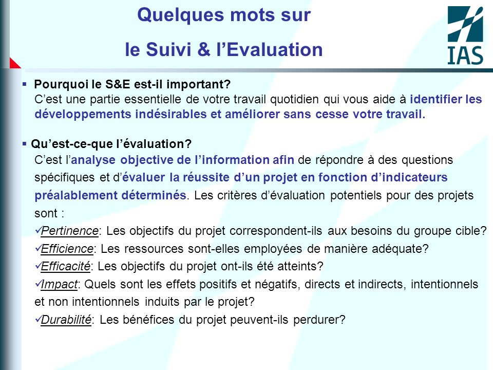 le Suivi & l'Evaluation