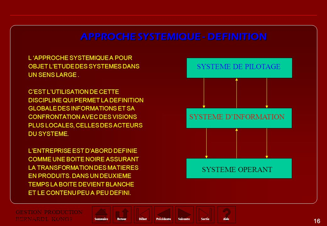 APPROCHE SYSTEMIQUE - DEFINITION