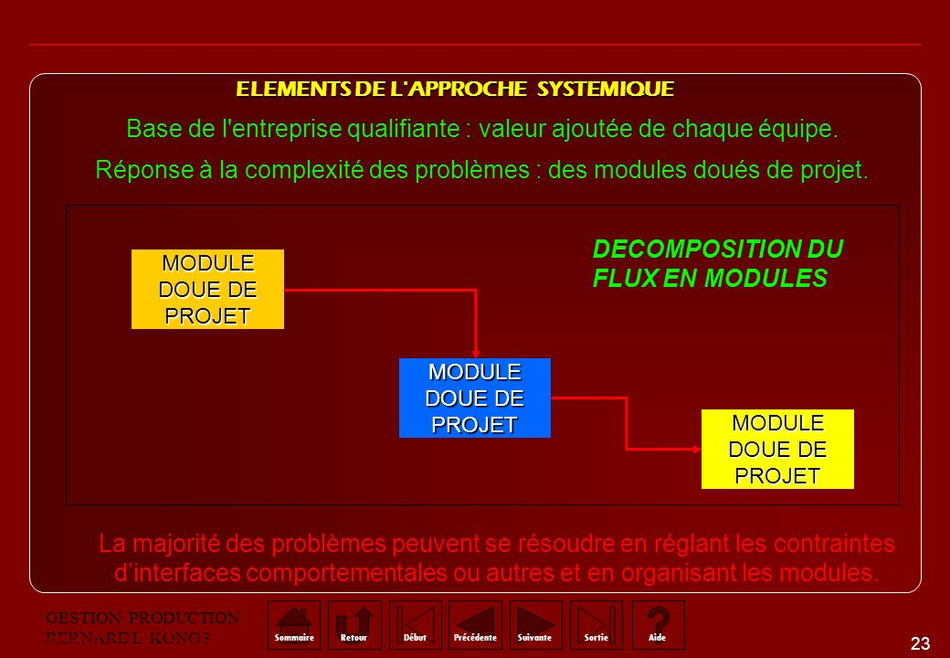 ELEMENTS DE L APPROCHE SYSTEMIQUE