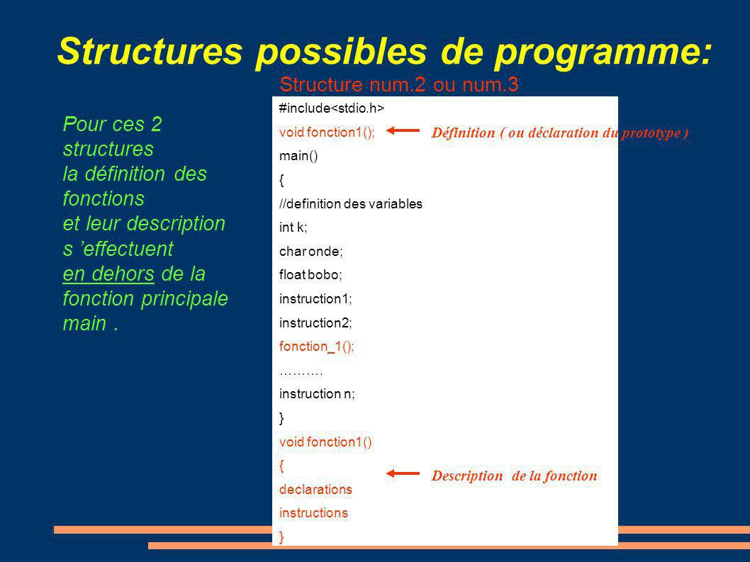 Structures possibles de programme: