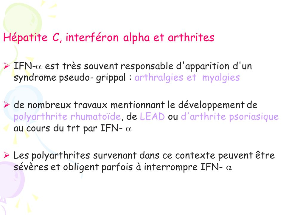 Hépatite C, interféron alpha et arthrites