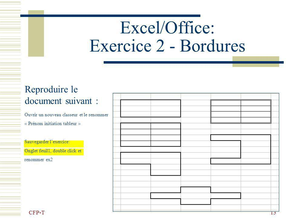 Excel/Office: Exercice 2 - Bordures