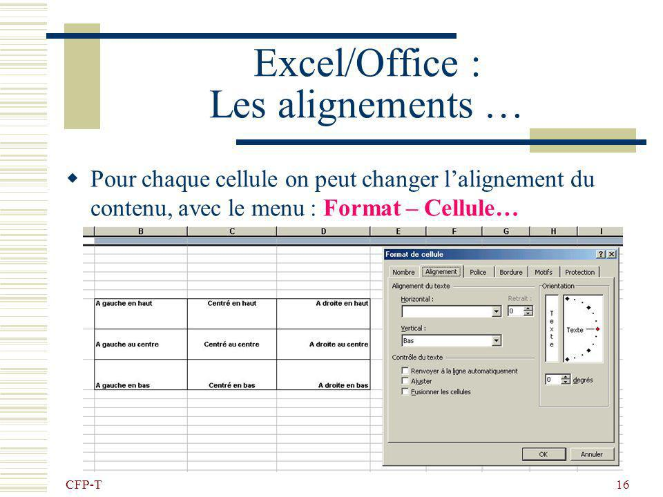 Excel/Office : Les alignements …