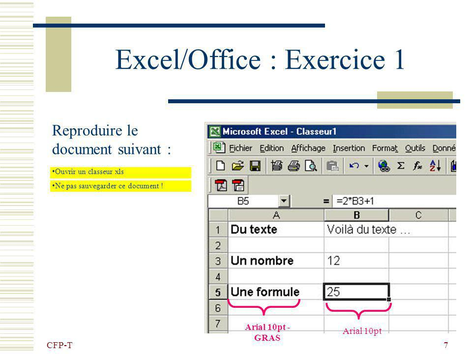 Excel/Office : Exercice 1