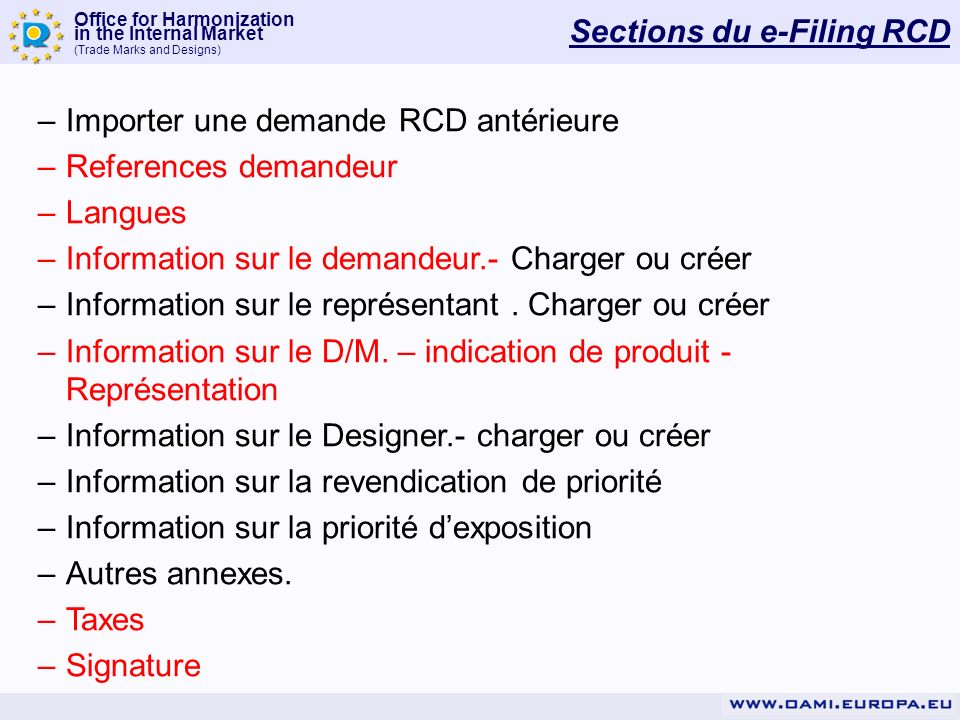 Sections du e-Filing RCD