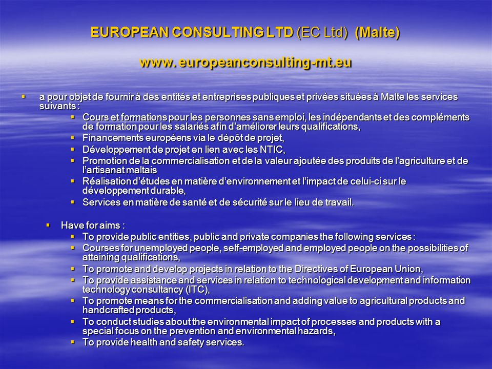 EUROPEAN CONSULTING LTD (EC Ltd) (Malte) www. europeanconsulting-mt.eu