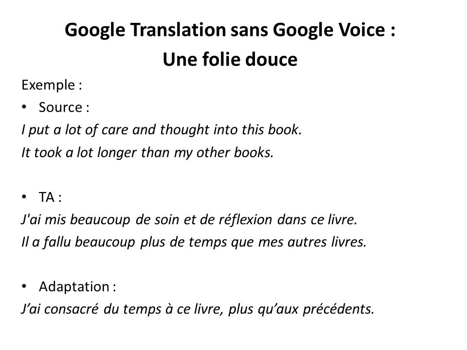 Google Translation sans Google Voice :