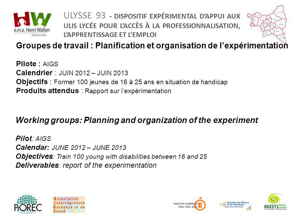 Working groups: Planning and organization of the experiment