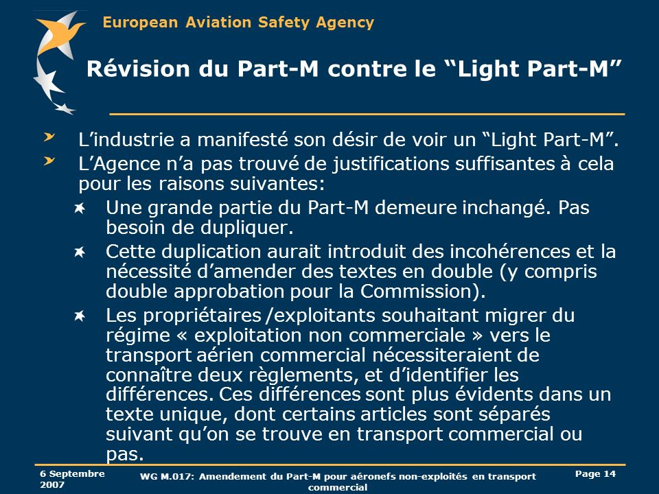 Révision du Part-M contre le Light Part-M