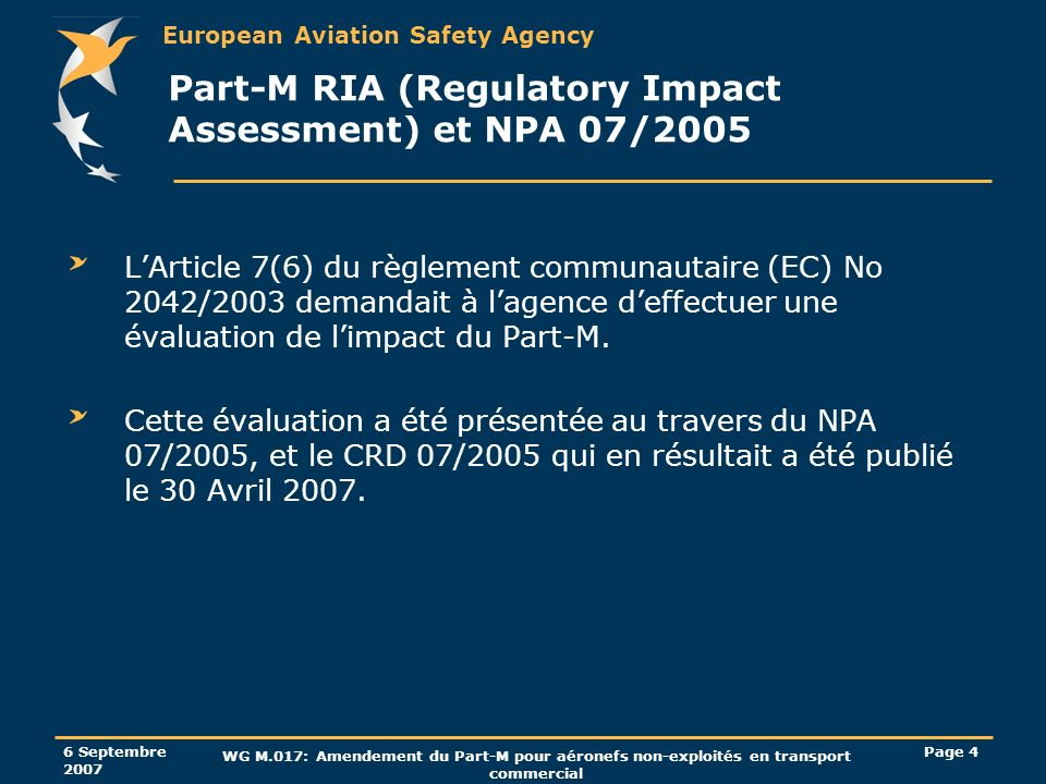 Part-M RIA (Regulatory Impact Assessment) et NPA 07/2005