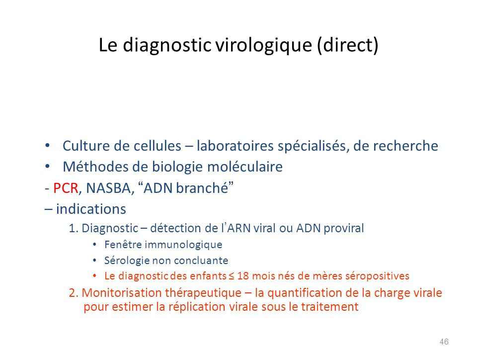 Le diagnostic virologique (direct)