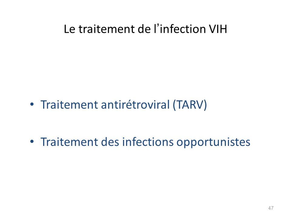 Le traitement de l'infection VIH
