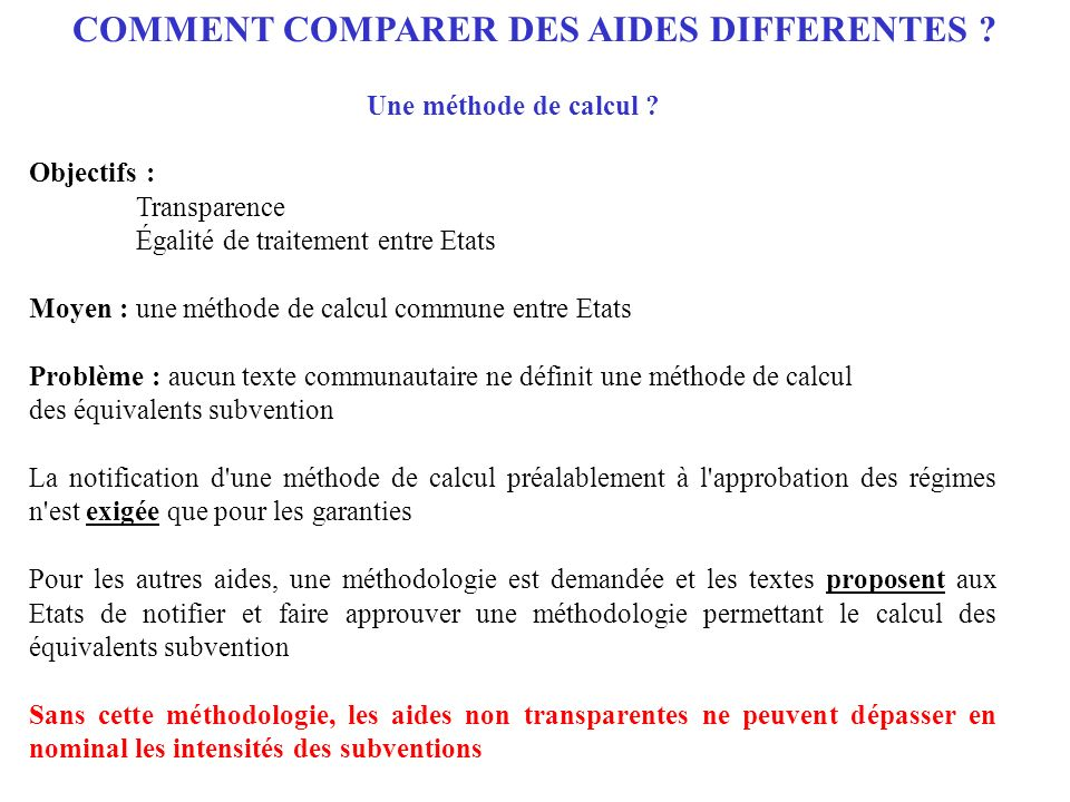COMMENT COMPARER DES AIDES DIFFERENTES