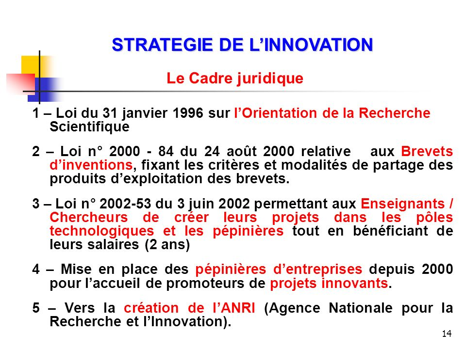 STRATEGIE DE L'INNOVATION