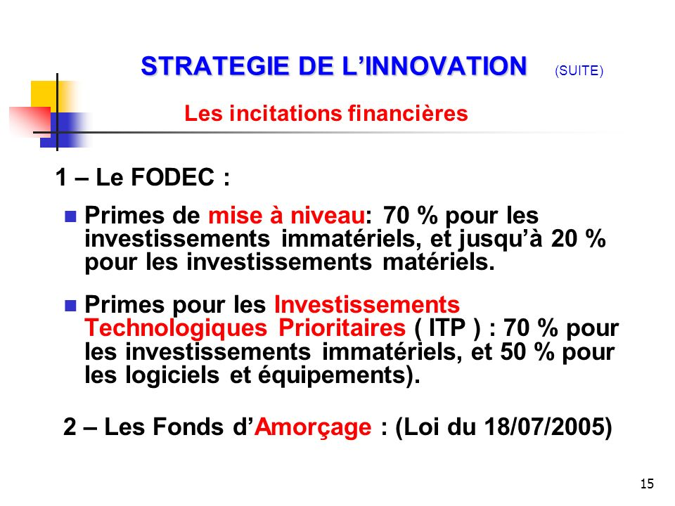 STRATEGIE DE L'INNOVATION (SUITE)