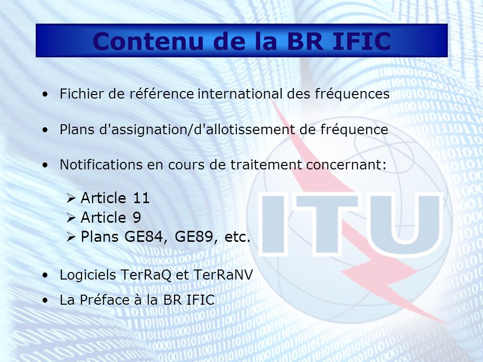 Contenu de la BR IFIC Article 11 Article 9 Plans GE84, GE89, etc.